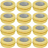 Hulless 0.5 Ounce Aluminum Tin Jar 15 ml Refillable Containers Clear Top Screw Lid Round Tin Container Bottle for Cosmetic ,Lip Balm, Cream, 12 Pcs Gold Color.