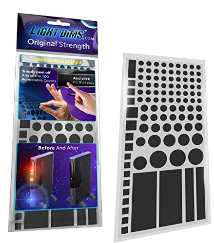 LightDims Original Strength - Light Dimming LED Covers/Light Dimming Sheets for Routers, Electronics and Appliances and More. Dims 50-80% of Light, in Retail Packaging.