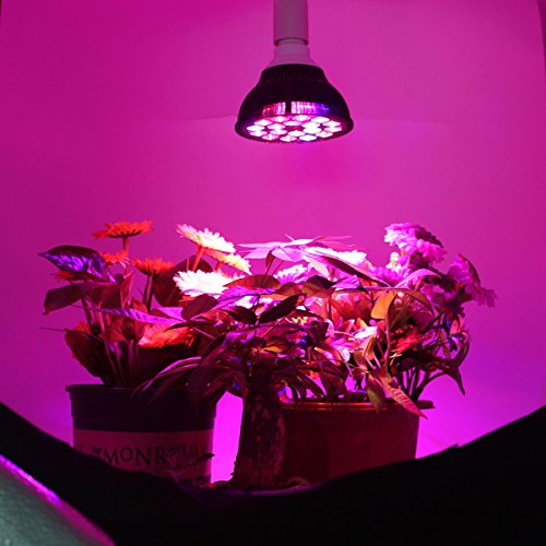 HIGROW 36W Full Spectrum Grow Lights for Indoor Plants, 18 LEDs E26 Plant Light, Grow Lamp for Hydroponics and Greenhouse
