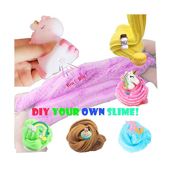 Unicorn Slime Kit for Girls to DIY Cloud Slime Kit Supplies Stuff Include 7 Colors Cloud Slime, Unicorn Toys, Colorful Foam Balls, Candy Cakes, Fruit Slices, Stars, Rainbow, Milk Bottle, Glitter Pack. 6