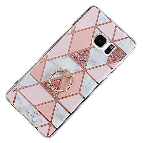 Hpory Kompatibel mit Galaxy S7 Hülle, Handyhülle Samsung Galaxy S7 Marmor Muster TPU Silikon Transparent Bumper Schale Kratzfest Rückseite Case Cover Tasche Etui Schutzhülle mit Ring Ständer - Pink