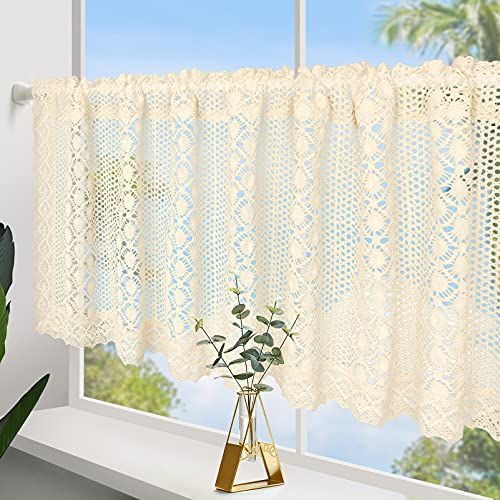 ZHH Crochet Curtain Valances for Window Decor Handmade Hollow Cafe Net Cotton Linen Valence Gift for Valentine's Day Christmas 24 by 60-inch, Beige