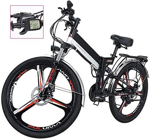 Bicicletta Elettrica, Pieghevole Bici elettrica per adulti LED Display a LED Electric Mountain Bicycle Commute E-Bike Tre modalità Guida Assist 21 Velocità Shift Bike elettrica per la città Outdoor Cy