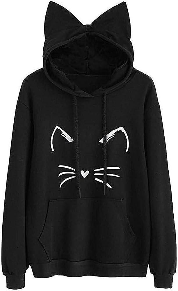 Womens Cute Sweatshirt Cat Ear Solid Long Sleeve Hooded Cute Print Pullover Loose Fit Pockets Tops Blouse