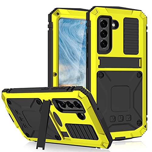 Case para Samsung Galaxy S21 Fe 5G Funda Impermeable [Antigolpes] Carcasa Sumergible Resistente Reforzada Acuática Waterproof Metálica Grado Militar Resistente Antipolvos Case,Yellow