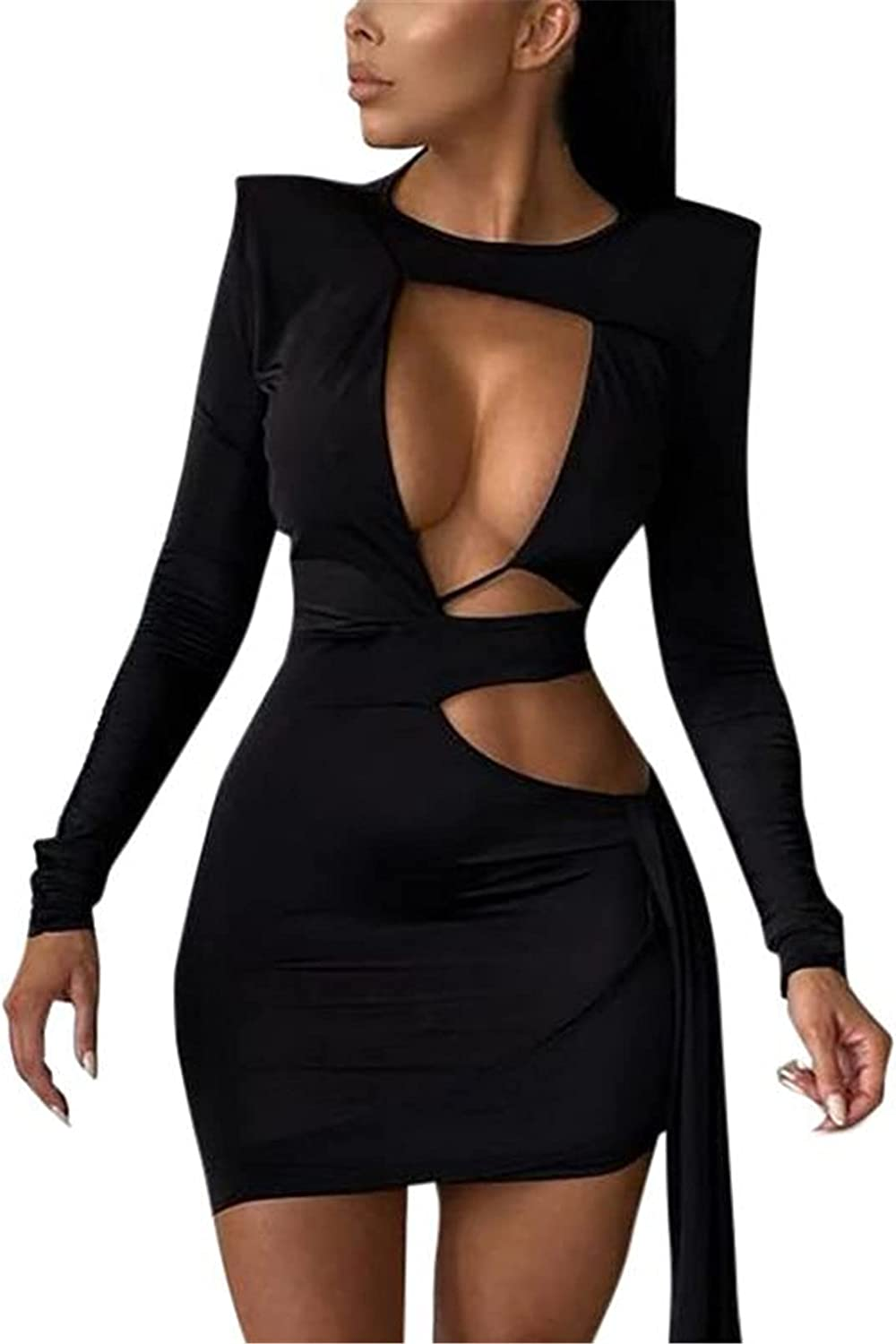 BUOCENISY Women Hollowed Dresses Bodycon Cutout Long Sleeve Tie-up Tunic Dress Club Party Dressy One-Piece