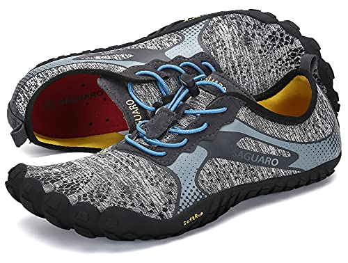 SAGUARO Barfußschuhe Damen Herren Zehenschuhe Traillaufschuhe Weich Bequem Barfussschuhe Fitnessschuhe Männer Frauen Trainingsschuhe für Joggen Laufen Wandern, Münzgrau, 47