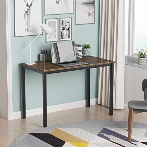 DlandHome 120 x 60 cm Computertisch Schreibtisch, anständig und Stabil, Holz, Moderner Bürotisch Arbeitstisch PC Laptop Tisch für Büroarbeit und Hausaufgaben, Walnuss & Schwarz