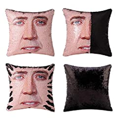 """√PACKAGE &SIZE & MATERIAL--PILLOW COVER ONLY,pillow inserts are NOT included! Size: Approx.16""""*16"""" (40CM x 40CM) . Material: reversible sequins (front) and soft suede fabric (back) √GLITTER PILLOW WITH FUNNY FACE--Our throw pillows covers come in 2 c..."""