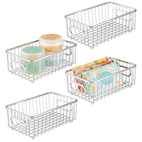 mDesign Juego de 4 cestas de almacenaje de metal con asas integradas – Estrecha caja organizadora con atractivo diseño de alambre – Ideal como organizador de baño para cosméticos – plateado