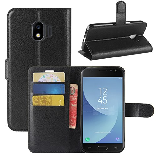 HualuBro Samsung Galaxy J2 Pro 2018 Hülle, Leder Brieftasche Etui LederHülle Tasche Schutzhülle HandyHülle Handytasche Leather Flip Hülle Cover für Samsung Galaxy J2 Pro 2018 (Schwarz)