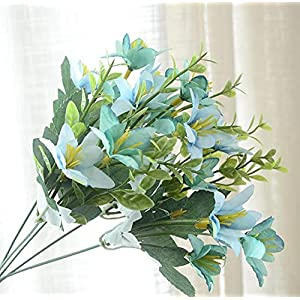 Silk Flower Arrangements Artificial and Dried Flower 10pcs Artificial Narcissus Lily Leaf Branch for Plants Wall Wedding Home Party Bridal Bouquet Decoration Accessory - ( Color: Sky Blue )