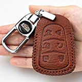 BBBB Car Key Cover for Cadillac 2015-2018 Cadillac Escalade Remote Key fob Cover Leather for Cadillac Escalade Key fob case Holder only for 6 Buttons Keychain Accessories