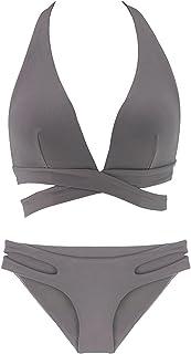 QIAOHONG Women's Two-Piece Stretch and Quick-Drying Split Bikini Swimsuit-1#-S