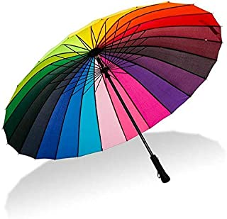 Women Rainbow Umbrella Big Long Handle Straight Colorful Parasol