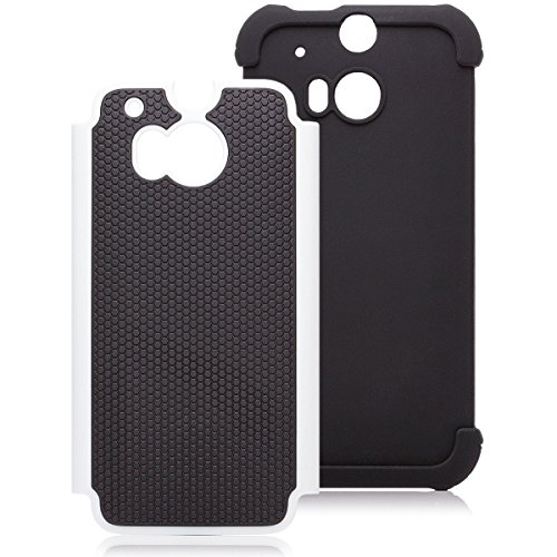 iCues HTC One M8 | Outdoor Case Weiss | [Display Schutzfolie Inklusive] Outdoor Dickes Hardcase Stoßfest Militär Lifeproof Männer Jungs Schutzhülle Hülle Cover Schutz