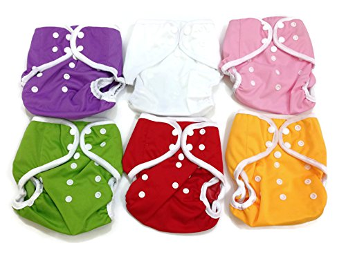 BB2 6 pcs Baby One Size Solid Leak-free Snaps Cloth Diaper Cover for Prefolds (One Size, Girls - A (6 Pieces))