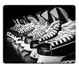 Liili Mouse Pad Natural Rubber Mousepad Image ID 32105319 Pairs of Hockey Skates Lined up in a Locker Room