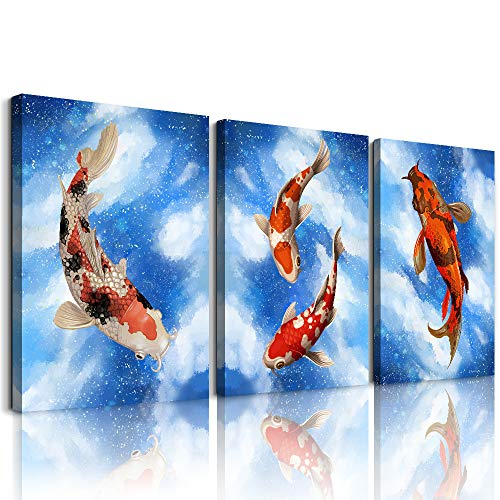 modern Canvas Prints Wall Art Paintings Wall Artworks Pictures for Living Room Bedroom kitchen Decoration, Abstract watercolor Painting 3 piece dining room Home Wall decor Blue Ocean fish posters