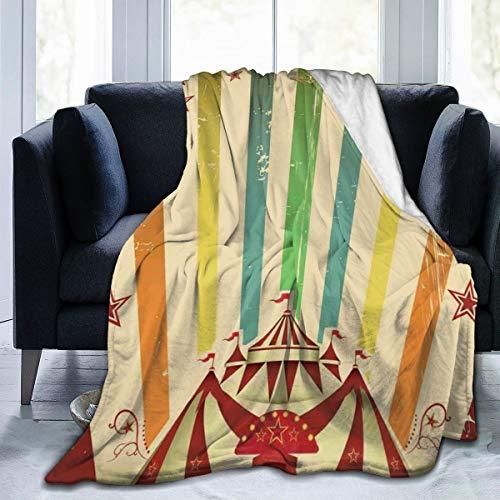 VORMOR Soft Fleece Throw Blanket,Carpa de Circo Antiguo Anuncio Tema Rayas Estrellas y Tienda de Feria,Home Hotel Sofá Cama Sofá Mantas para Parejas Niños Adultos,150x200cm