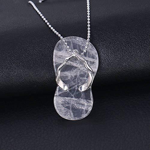 Collares Pendientes De Piedra,Elegante Colgante De Cristal Blanco Con Forma De Zapatilla,...
