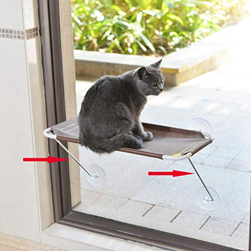 LSAIFATER All Around 360° Sunbath and Lower Support Safety Iron Cat Window Perch, Cat Hammock Window Seat for Any Cats (M, Brown)