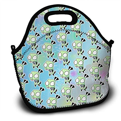 111111 Portable Insulated Lunch Bags, Lunch Handbag, Lunch Box, Invader-Zim H Women Tote Bag Zipper Lunch Boxs for Men Work Outdoor/School/Office/Travel