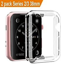 [2 Pack] Apple Watch 3 Case, ZAOX iwatch Case Buit in Soft TPU Screen Protector All-around Protective Bumper High Definition Clear Ultra-Thin Cover for Apple Watch 38mm Series 3, Series 2