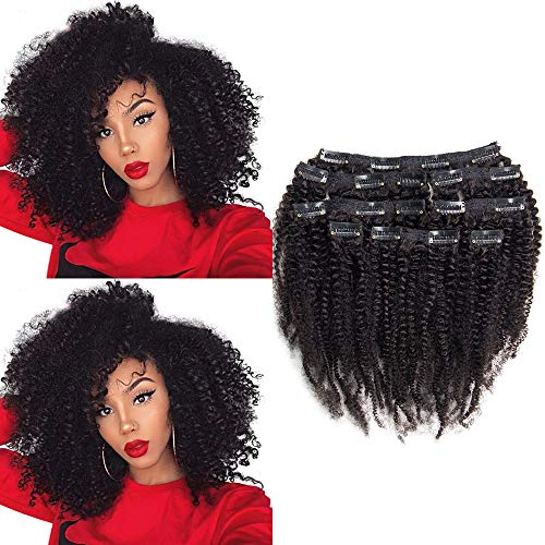 Riya 4B 4C Remy Hair Afro Kinky Curly Clip in Hair Extensions Brazilian Human Hair Clips in Real Hair Extensions for Black Women Can Be Dyed 120G/Set(16inch,Natural Black)