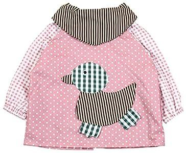 SUNNY JU - Babero Bebé Manga Larga Infantil Impermeable Algodón Suave Pato 18-24 Meses XL - Rosa