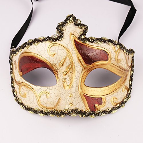 yufeng Mardi Gras Hälfte Venezianische Masken Kostüme Party Zubehör Gold 2
