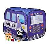 Relaxdays Pop up Spielzelt Polizei, Bällebad Zelt für Kinder, Kinderzelt Polizeiauto, HxBxT: 82,5...