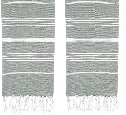 HAVLULAND Juego de 2 toallas grandes de algodón turco con cara de mano, para gimnasio, yoga, baño, playa, peshtemal (gris)