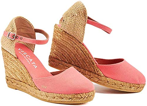 VISCATA Satuna Ankle-Strap, Closed Toe, Classic Espadrilles with 3-inch Heel Made in Spain, Red, 36 M EU