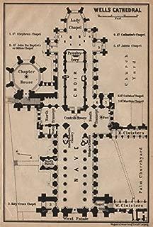 WELLS CATHEDRAL floor plan. Somerset. BAEDEKER - 1906 - old map - antique map - vintage map - printed maps of Somerset