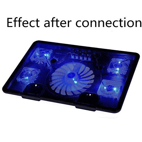 """YUHUANG Radiador portátil, USB Ventilador de refrigeración 5 cojín bajo, LED portátil con el Ventilador del radiador Ligero, Antideslizante Soporte para el Ordenador portátil-10 \'\' -17\'\'14 \'\' 15,6\"""""""