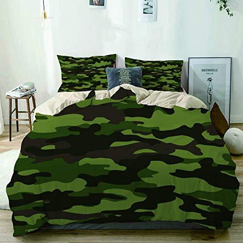 Funda nórdica beige, patrón de camuflaje sin costuras Vector de puntos de impresión abstracta verde marrón negro clásico, juego de cama de microfibra impresa de calidad de 3 piezas, diseño moderno con