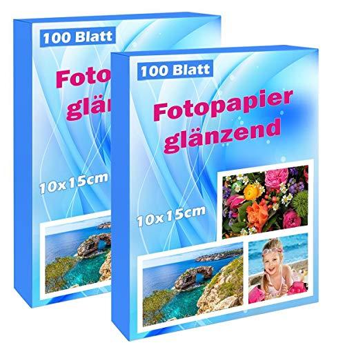 200 Blatt fotopapier 10x15 hoch glänzend tintenstrahldrucker 180g/m² Photopapier Fotokarten Photokarten Sofort Trocken Wasserfest Hochweiß fotoblätter