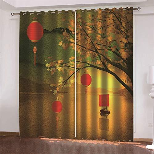 MMHJS Cortinas De Estilo Minimalista Moderno Nórdico Dormitorio De Navidad Sala De Estar Balcón Sombrilla Engrosada Decoración De Pared Impermeable (2 Piezas)