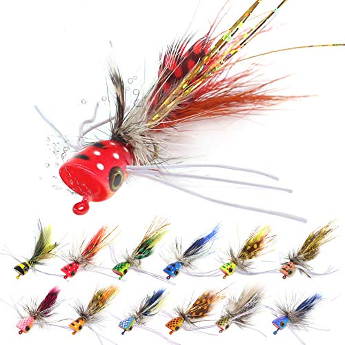 Panfish-Popper-Flies-for-Fly-Fishing-Poppers Bugs Bass Panfish Bluegill 24 pc