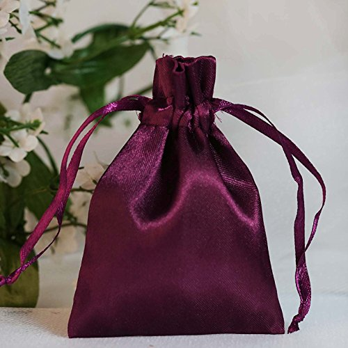 BalsaCircle 60 pcs 3x3.5-Inch Eggplant Purple Satin Drawstring Bags - Wedding Party Favors Jewelry Pouch Candy Gift Bags