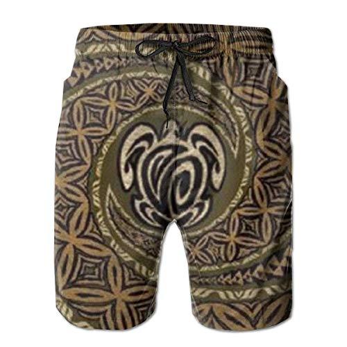 Sheho Hawaiano Tapa Honu Turtle Deluxe Hombres Moda Bañadores Trajes de baño de Secado rápido Pantalones Cortos con Bolsillo Talla XL