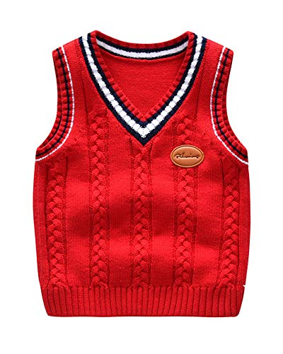 Niños Niñas Jersey De Punto Sin Mangas Chaleco Cuello En V Suéter Pullover Uniforme De Colegio Rojo 90 Adecuado para la Altura: 90CM