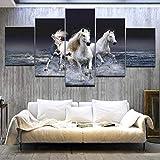 ZDDBD 5 Piezas Cuadros de Arte Baratos Caballo Corriendo Grande HD decoración de Pared Moderna para el hogar Lienzo Abstracto Pintura al óleo