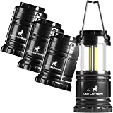MalloMe LED Camping Lantern Flashlights 4 Pack - Super Bright - 350 Lumen Portable Outdoor Lights - AA Batteries Required, Not Included (Black, Collapsible)