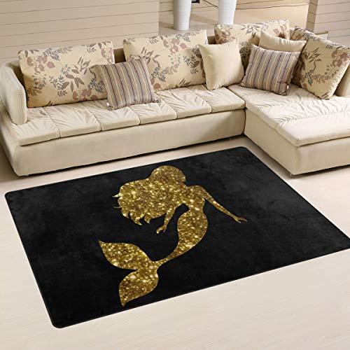 Mr.Lucien Area Rug - Alfombra antideslizante para salón, comedor, dormitorio, 152,4 x 99 cm, diseño de sirena dorada
