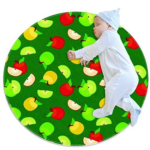 chuangxin rode en groene appels Baby tapijt voor kinderdagverblijf Kids ronde warme zachte activiteit Mat vloerbedekking Anti-slip voor kinderen Peuters Slaapkamer, 27.6x27.6IN