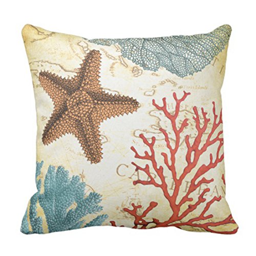 Emvency Throw Pillow Cover Map Fish Colorful Caribbean Starfish and Coral Ocean Decorative Pillow Case Home Decor Square 16 x 16 Inch Pillowcase