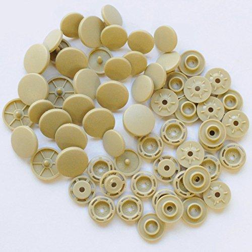 手作り工房 MY mama プラスナップ 14mm 15組 プラスチックボタン スナップボタン ボタン (ベージュ)