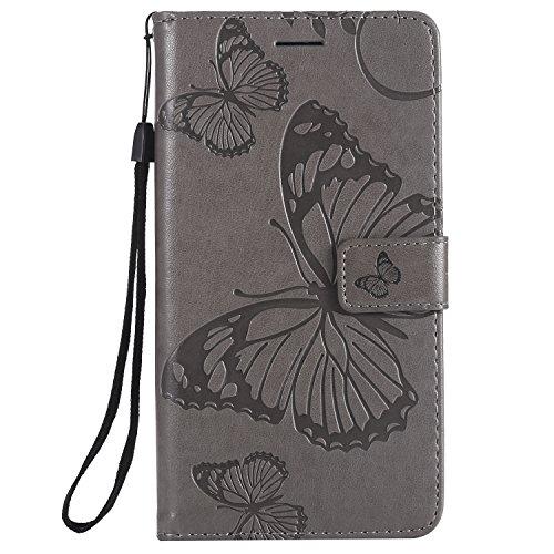 Tosim LG Stylus 2 Hülle Leder, Klapphülle mit Kartenfach Brieftasche Lederhülle Stossfest Handy Hülle Klappbar für LG Stylus2 (K520) / Stylus2 Plus (K535) - TOKTU56344 Grau